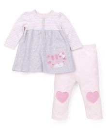 Mothercare Full Sleeve Top And Legging Set Kitty Patch - Pink Grey