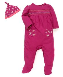 Mothercare Footed Romper With Knot Cap - Pink
