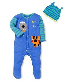 Mothercare Full Sleeves Sleepsuit With Cap Printed And Patchwork - Blue Green