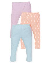 Mothercare Leggings Plain And Printed Pack Of 3 - Blue Orange Pink