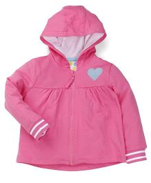 Mothercare Full Sleeves Sweat Jacket Heart Patch - Pink