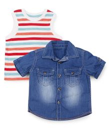 Mothercare Denim Shirt With Stripes T-Shirt - Blue & Multi Color