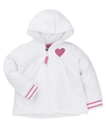Mothercare Full Sleeves Sweat Jacket Heart Patch - White
