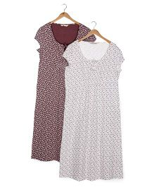 Mothercare Maternity Nighty Floral Print - White & Brown