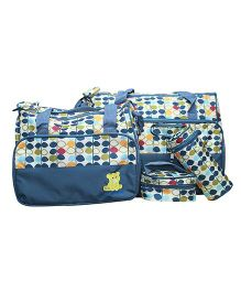 Kiwi Multi Pieces Diaper Bag Set Circle Print - Blue