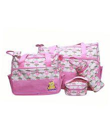 Kiwi Multi Pieces Diaper Bag Set Circle Print - Pink