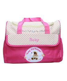Kiwi Dotted Diaper Bag - Pink Cream