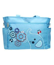 Kiwi Diaper Bag Elephant Embroidery with Flowers - Blue