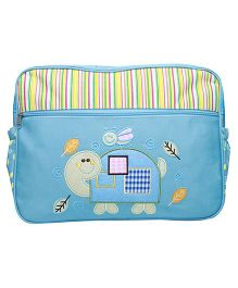 Kiwi Diaper Bag Bee and Tortoise Embroidery - Blue