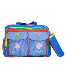Kiwi Diaper Bag Flower Embroidery With  Buttons - Multi Color