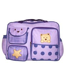 Kiwi Diaper Bag Star & Teddy Patch - Purple