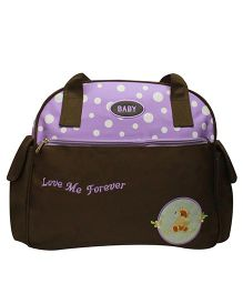 Kiwi Diaper Bag With Polka Dots - Brown Purple