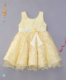 Bluebell Sleeveless Party Wear Frock Flower Applique - Light Yellow