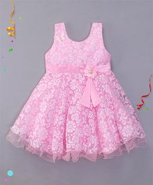 Bluebell Sleeveless Party Wear Frock Flower Applique - Pink