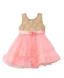 Bluebell Party Wear Frock Floral Design - Peach