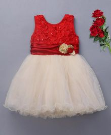 Bluebell Sleeveless Party Frock Flower Applique - White Red