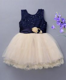 Bluebell Sleeveless Party Frock Flower Applique - White Navy