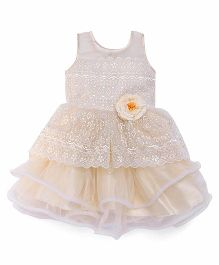 Bluebell Sleeveless Party Wear Frock Lace Design - Light Yellow