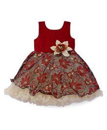 Bluebell Sleeveless Party Wear Frock Flower Applique - Maroon