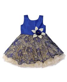 Bluebell Sleeveless Party Wear Frock Flower Applique - Royal Blue