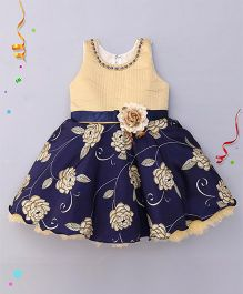 Bluebell Sleeveless Frock Floral Print & Flower Applique - Blue