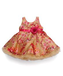 Bluebell Sleeveless Party Wear Frock Flower Applique - Golden Pink