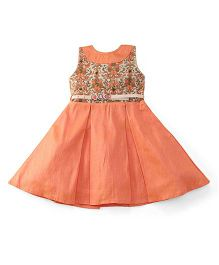 Bluebell Sleeveless Frock With Belt - Peach