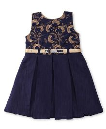 Bluebell Sleeveless Pleated Frock With Floral Embroidery - Navy Blue