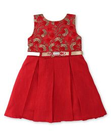 Bluebell Sleeveless Pleated Frock With Floral Embroidery - Red