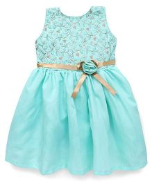Bluebell Sleeveless Party Frock Flower Applique - Sea Green