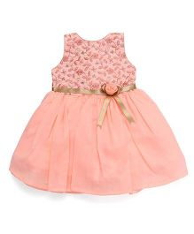 Bluebell Sleeveless Party Frock Flower Applique - Peach