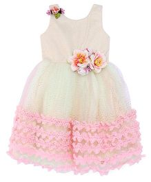 Bluebell Sleeveless Party Wear Gown With Floral Applique - Pink