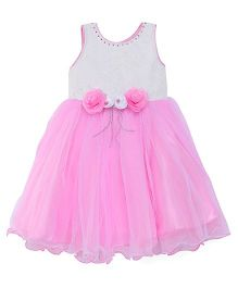 Bluebell Sleeveless Party Wear Gown With Floral Applique - Pink White
