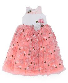 Bluebell Sleeveless Party Wear Gown With Floral Applique - Peach White