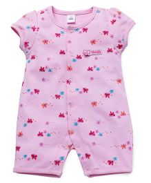 ToffyHouse Short Sleeves Romper Butterfly Print - Pink