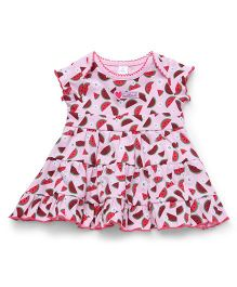 ToffyHouse Regular Neck Frock Watermelon Print - Pink