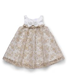 ToffyHouse Sleeveless Party Wear Frock Bow Applique - White Cream