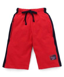 Taeko Three Fourth Bermuda Pant With Patch - Red