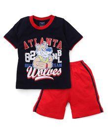 Taeko Half Sleeves Printed T-Shirt And Shorts Set -  Navy Red