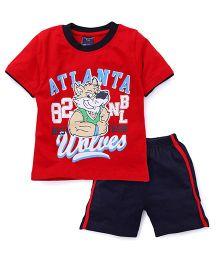 Taeko Half Sleeves Printed T-Shirt And Shorts Set -  Red Navy Blue