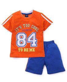 Taeko Half Sleeves Suits With 84 Print - Orange Royal Blue