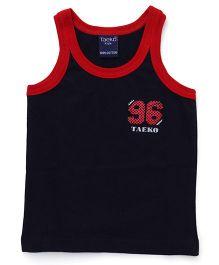 Taeko Singlet Vest Numeric 96 Print - Navy Blue
