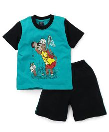 Taeko Raglan Sleeves T-Shirt And Shorts Monkey Print - Sea Green Black