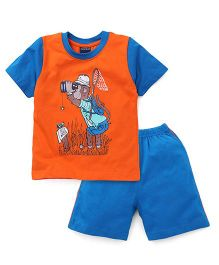 Taeko Raglan Sleeves T-Shirt And Shorts Monkey Print - Orange Blue