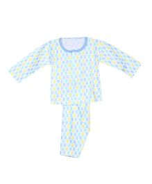 Pikaboo Full Sleeves Printed Night Suit - White Blue