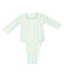 Pikaboo Full Sleeves Printed Night Suit - White Green