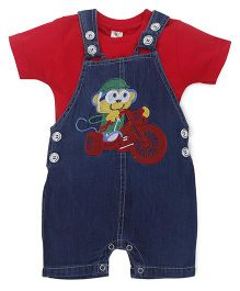 Cucumber Dungarees With T-shirt Cartoon Embroidery - Red And Blue