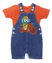 Cucumber Dungarees With T-shirt Cartoon Embroidery - Orange And Blue