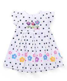 Cucumber Short Sleeves Frock Polka Dot And Floral Design - White & Navy Blue