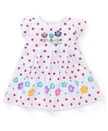 Cucumber Short Sleeves Frock Polka Dot And Floral Design - White & Red